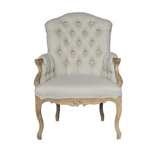 French Style Oak Frame Linen Buttoned Armchair S1170