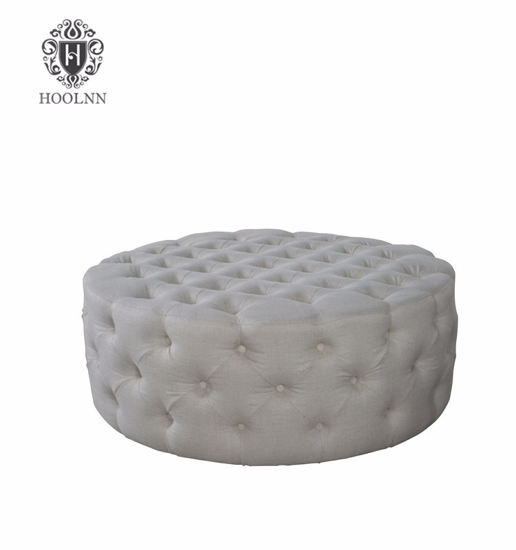 Tufted Antique Round Ottoman Chair
