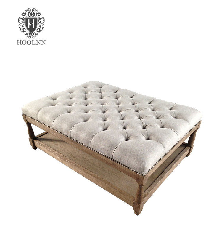 Hamptons French Style Upholstered Tufted Ottoman S1083-80