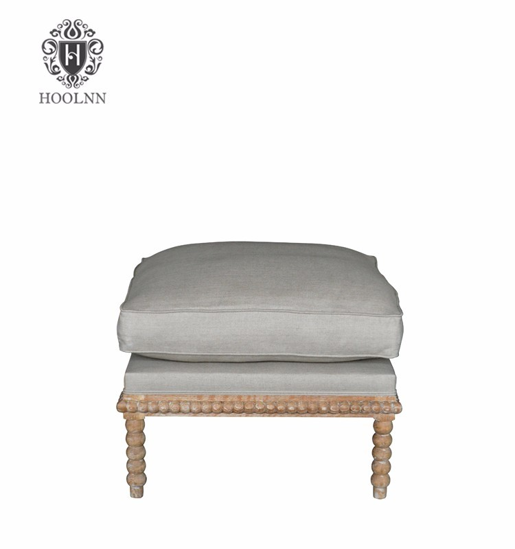 Classical Bobbin Ottoman Oak Frame with Linen P0019-1