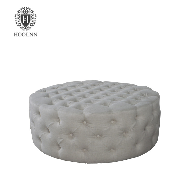 Chelsea French Style Linen Upholstery Tufted Round Stool HL254