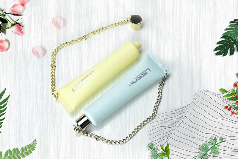 35ml empty custom plastic hand cream tube packaging with luxury chain