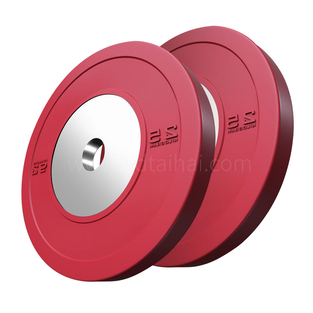 TaiHai Custom fitness power training gym competition rubber color bumper barbell weight lifting plates