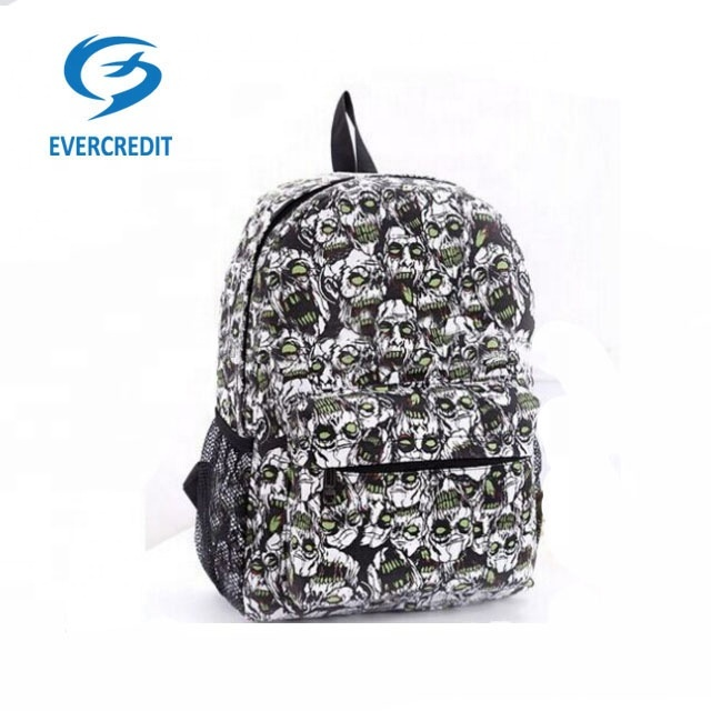 New Style Fashion Printed Skull School Backpack Bags Canvas Outdoor Backpacks