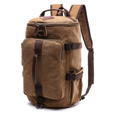 Outdoor canvas hiking backpack travel duffle bag large capacity bucket school back pack