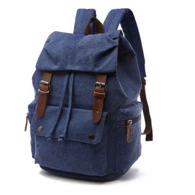 Factory sale leisure canvas back pack travel outdoor drawstring backpack bag