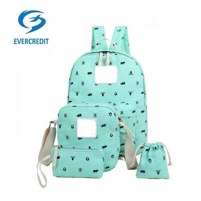 4pcs leisure canvas school bag set shoulder bags pencil case for girls