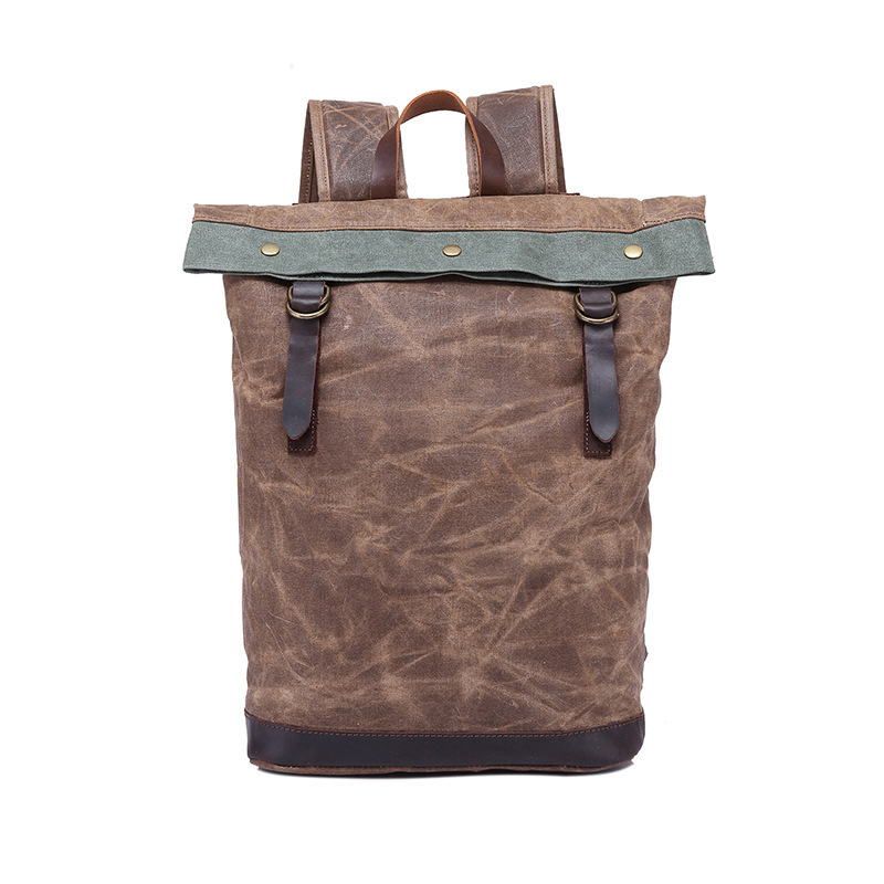 Fashion vintage waxed canvas day backpack Men's travel backpacsk laptop bag