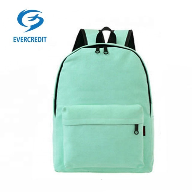 Pure Color Kids School Bag High Quality Polyester Backpack for Teernagers
