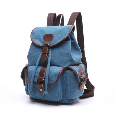 Korean Style Fashion Canvas BackpackTravel Bag Pure Color School Bags For Girls Boys Students