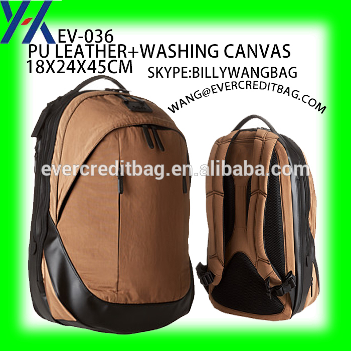 leather and washing canvas backpack bag oriantal china