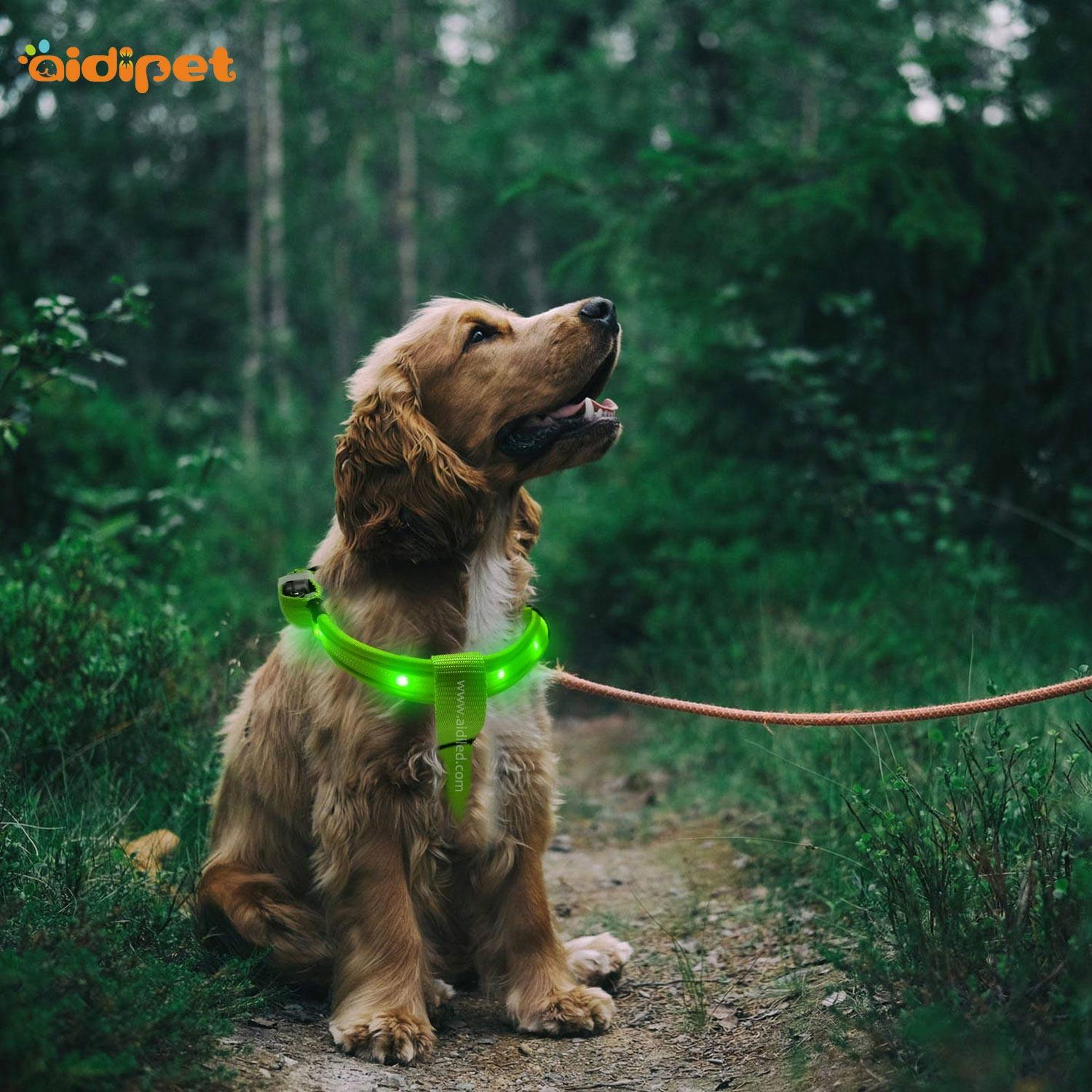 RGBRainbow Led Dog Harness Colorful Factory Price Customized Logo Harness with Led Light for Dogs
