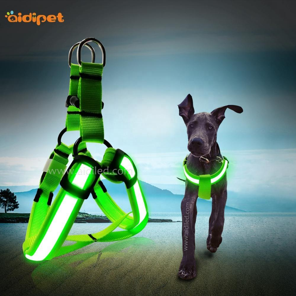 Wholesale Custom Logo Led Dog Harness Chest Glowing Dog Harness Glow In the Dark Factory Price High Quality Pet Harness Supply
