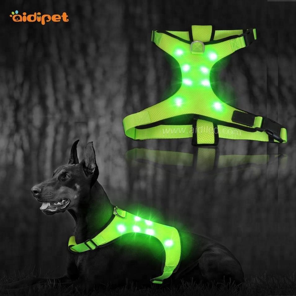 Pet Product Nylon Webbing Reflective Adjustable Mesh Led Dog Harness