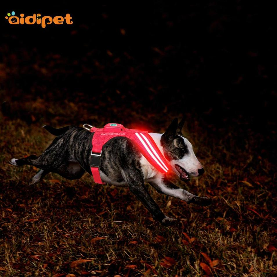 Soft Adjustable Rechargeable Customized Pet Led Dog Harness Vest for outdoor