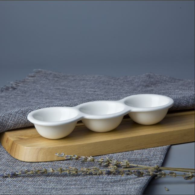 Ceramic new innovation crockery tableware three holes egg tray