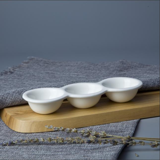 Ceramic new innovation crockery tableware three holes egg tray