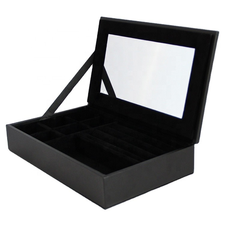 elegant luxury black leather bracelet surprise gift box with inner mirror customized 25x15x5cm