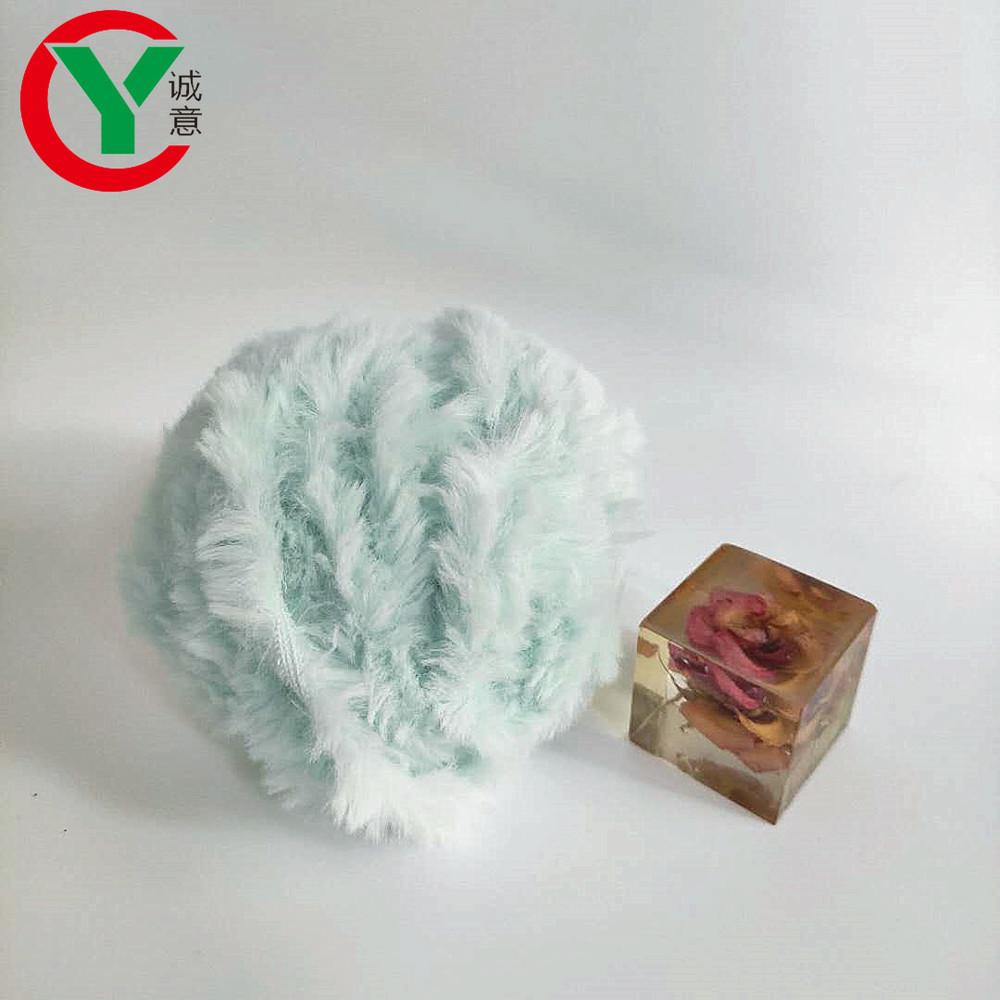 100%polyester animal fur hand knitting yarn fancy polyester scarf hat blended fake fur yarn