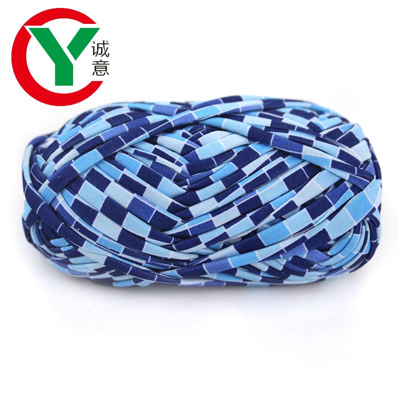 free sample t-shirt yarn hand knitting textile yarn/Super fashion elastic 100% polyester tshirt yarn crochet hand knitting