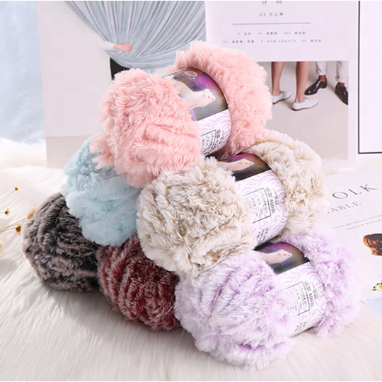 Hot sales fake fur yarn 100% polyester crochet yarn knit hats scarf and blanket etc