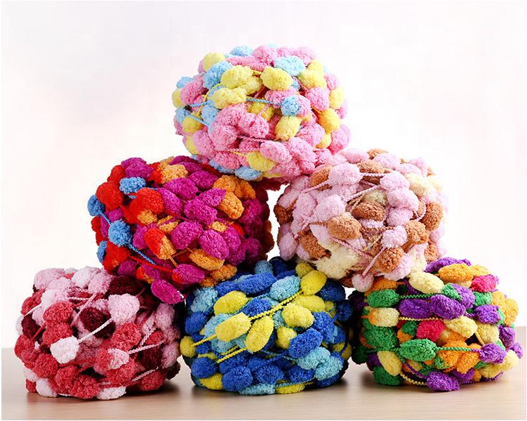 Hot colorful hand knitting ball chenille pom pom large pompom yarn crochet