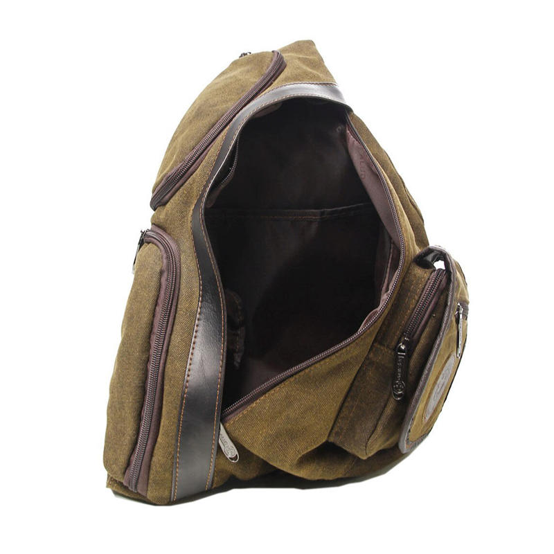 Men Canvas Sling Chest Bag High Capacity Military Travel Riding Hiking Motorcycle Cross Body Messenger Casual Shoulder Day Pack