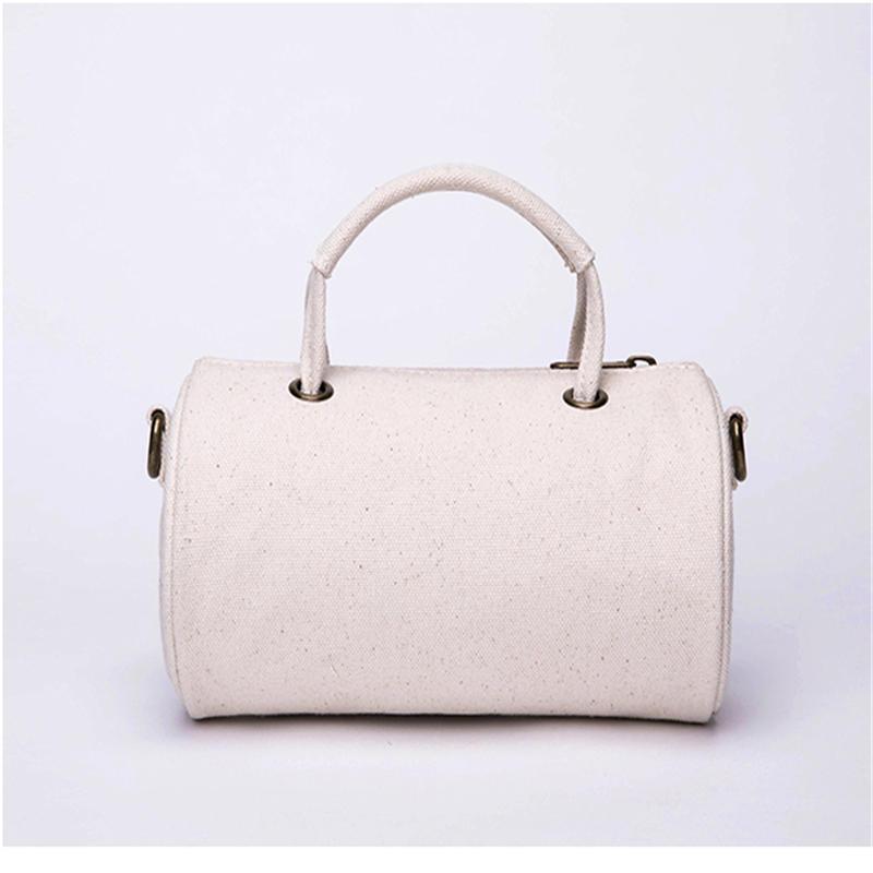 Korean version of the wild large-capacity canvas cylinder messenger bag casual simple shoulder bag
