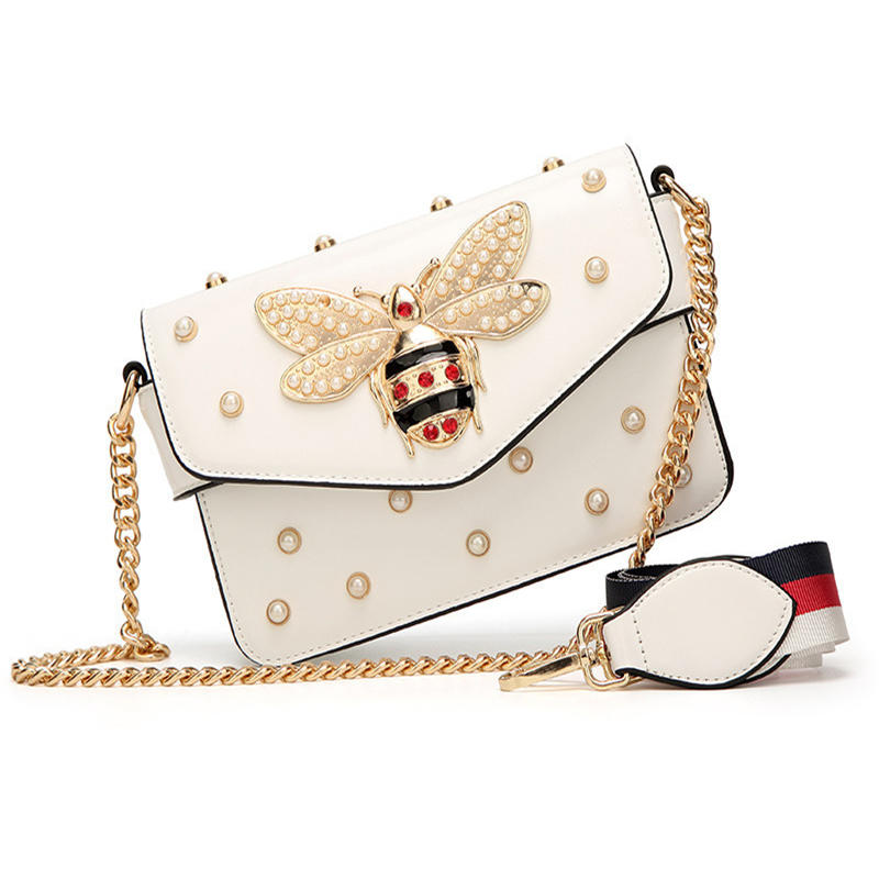 Small Pu Crossbody Bags For Women 2020 Chains Bee Luxury Handbags Designer Famous Brand Shoulder Bag Hand Sac A Main Female