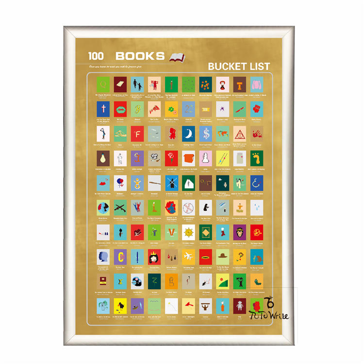 product-Dezheng-Cheap Price High Quality Scratch off 100 Must Read Books Bucket List Poster for US A-2