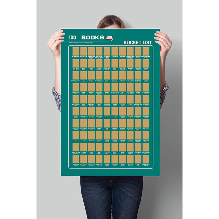 Custom logo Popular in Amazon scratch off 100 books poster one piece poster one tube