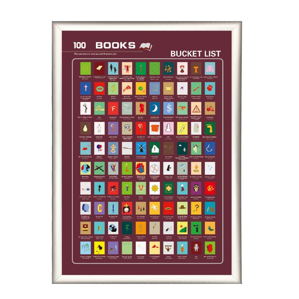 Wholesale elegant design scratch off poster 100 books poster for gift for Amazon sale