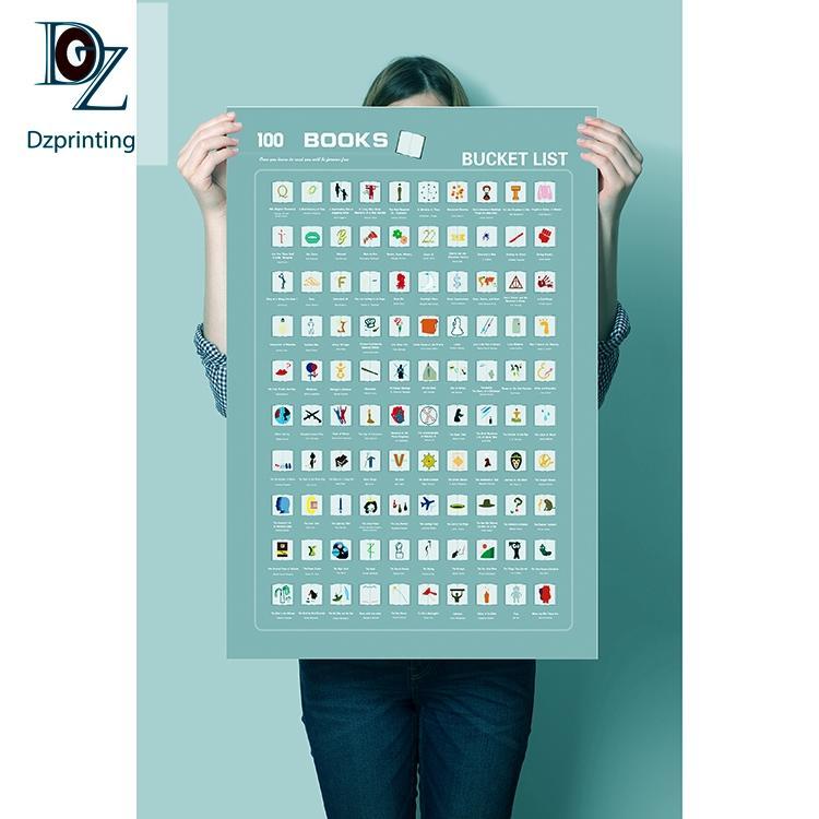 Custom Scratch Off Poster Custom 100 Books Bucket List Scratch Off Poster