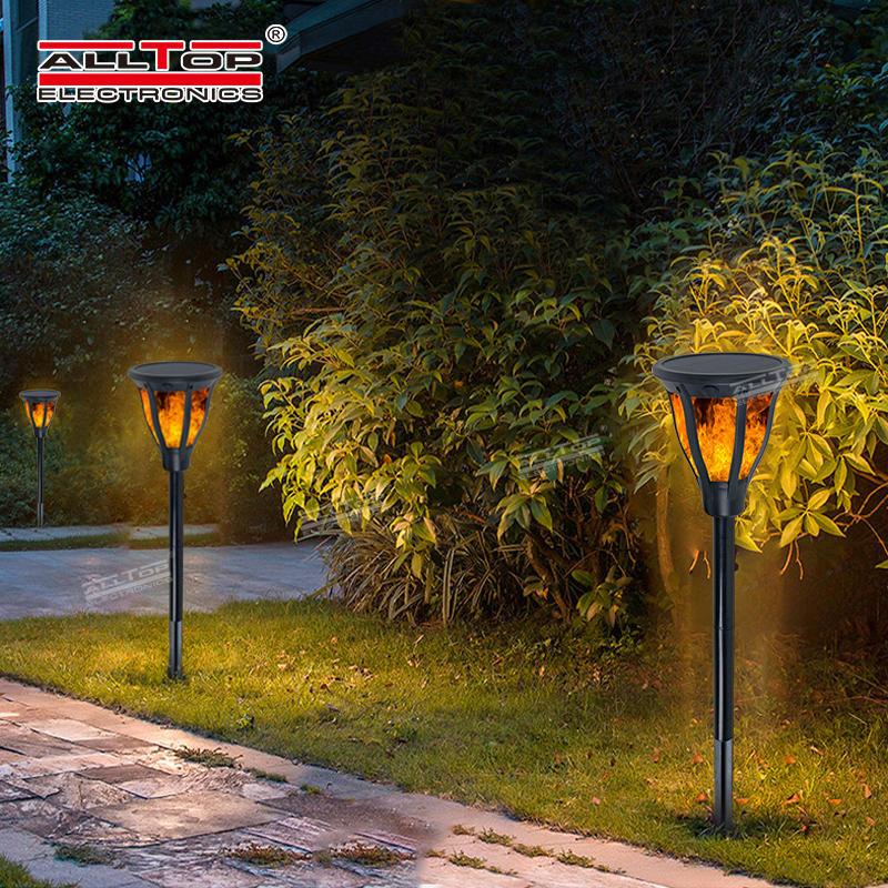 ALLTOP Hot sale ABS outdoor waterproof lighting 2w ip65 flame solar led garden light