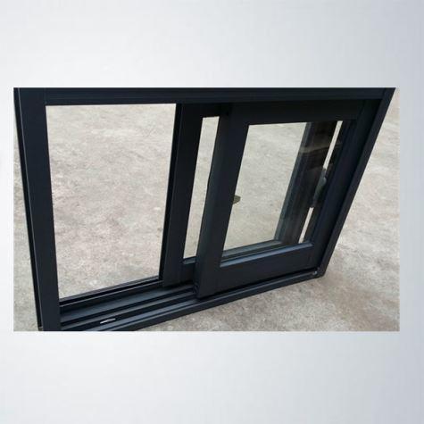 Single Clear Tempered Glass Aluminum Frame Black Color Aluminum Sliding Window