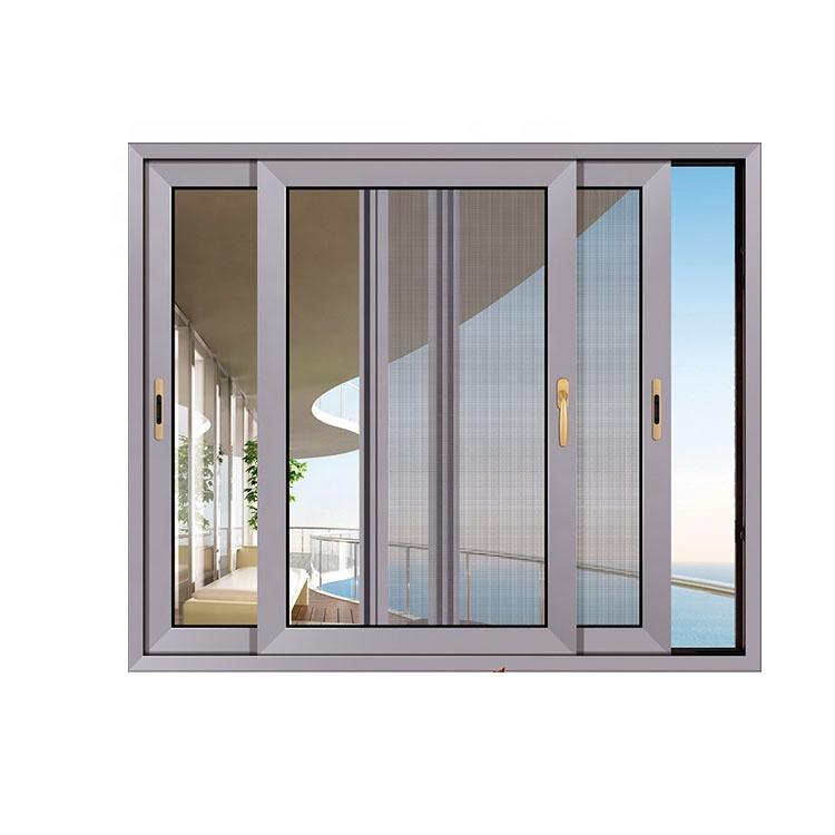 aluminium frame sliding glass window with mosquito net sliding window