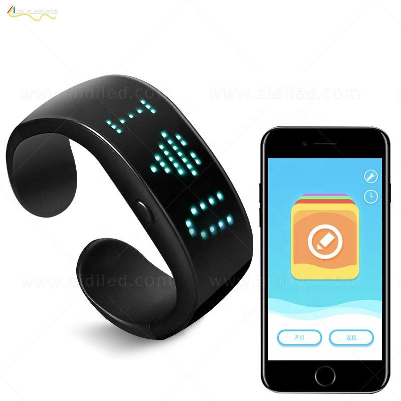 APP Control Led Flashing Party Bracelet Connect With MobileRechargeable Led Wristband Bracelet