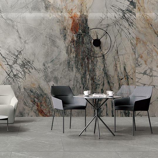 Monet Glazed Marble Large Size Jumbo Slab Villa tiles Dark Polished Granite Countertop Design Italian Porcelain tiles