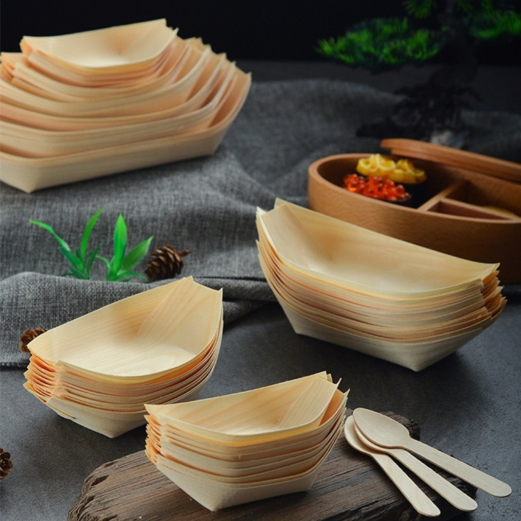 disposable sushi boat natural and disposable comp stable for catering and home use