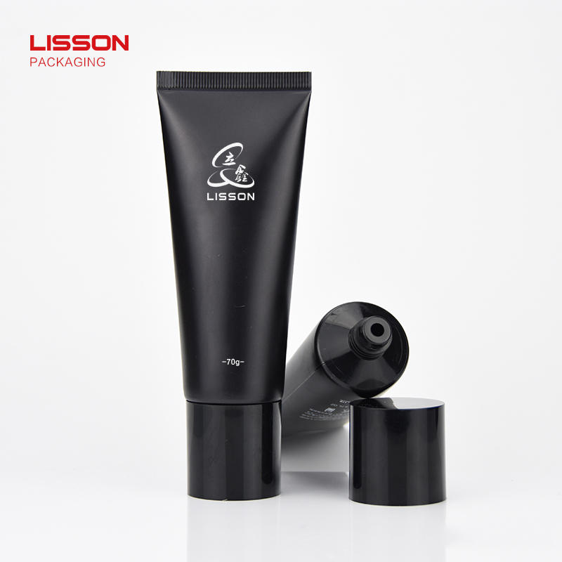 70ml recyclable black cream lotion tube packaging cosmetic with black screw cap