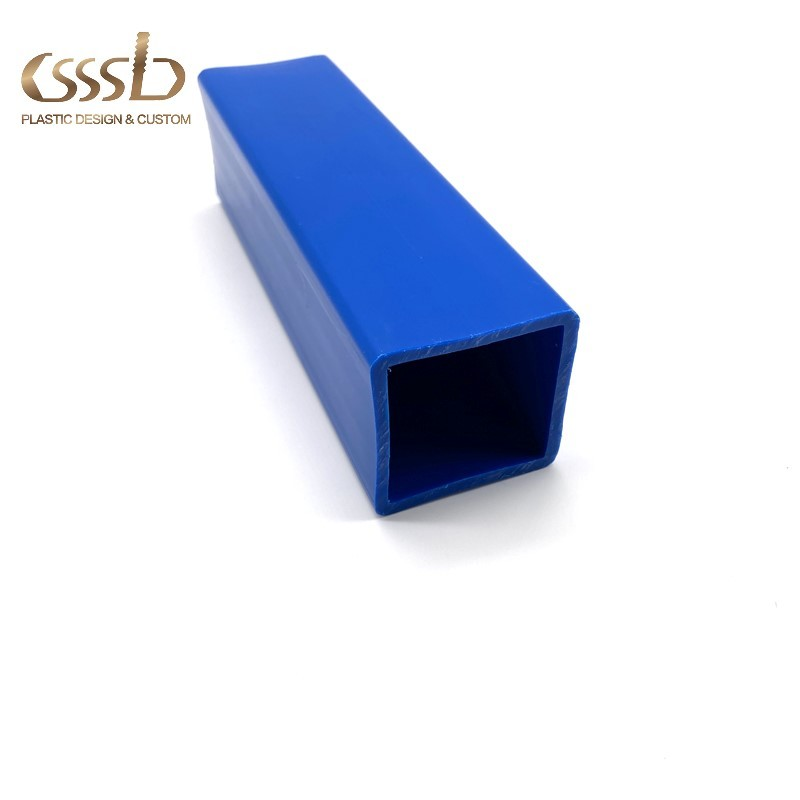 Blue plastic PP hollow square tube with size of 50x50mm