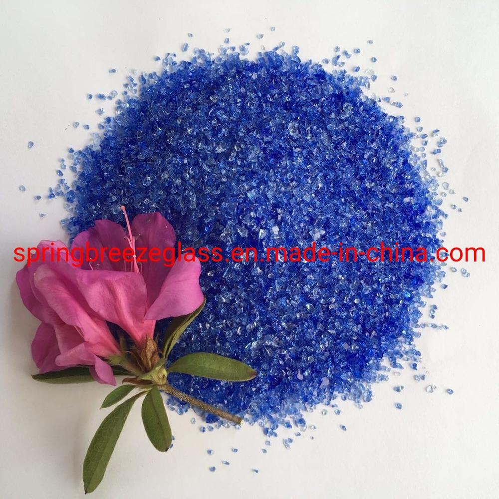 Dark Blue Crushed Glass Chips for Quartz Surfaces Used in Vanity Top