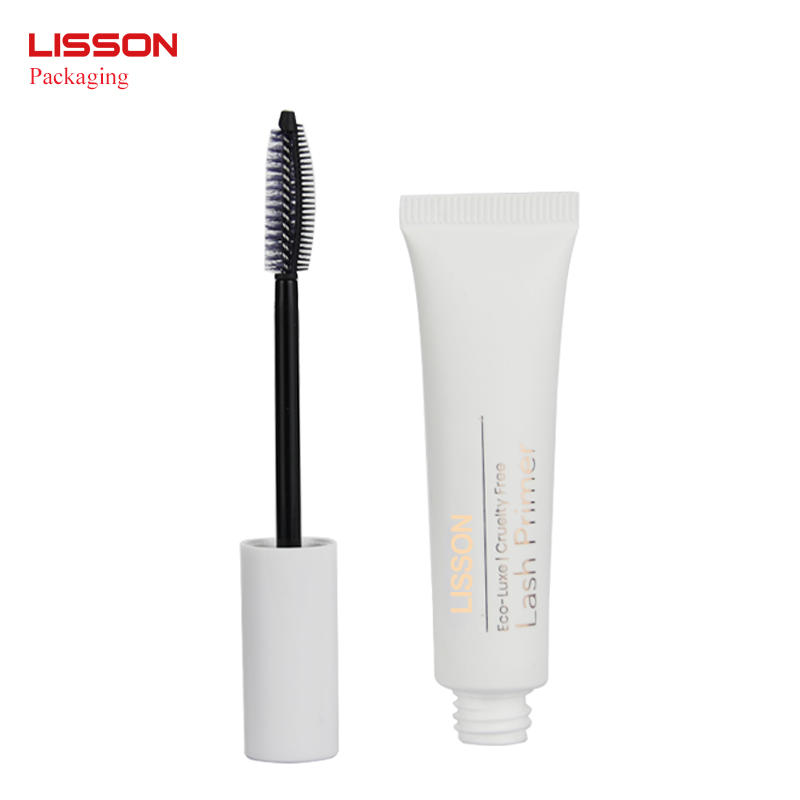 empty white mascara tube cosmetic squeeze packaging with brush