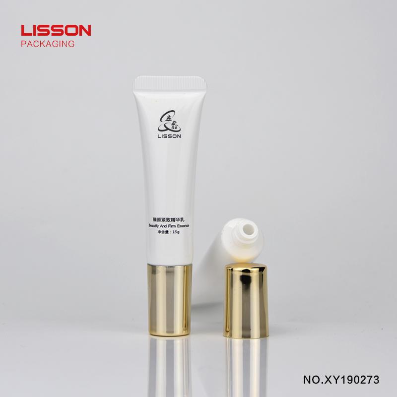 Hot sell custom nozzle head pearl PE eye cream tube packaging with screw cap