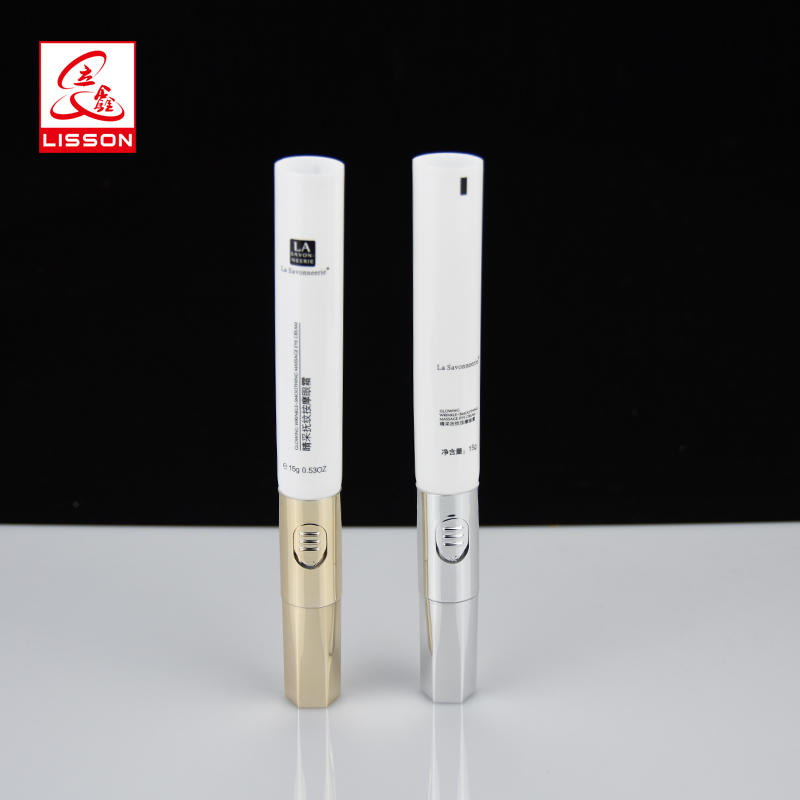 15g single ball eye cream cosmetic packaging massage tube with gold-plated cap for eye cream