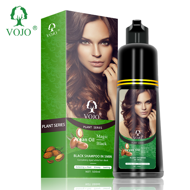 anti hair white shampoo with Morocco argan nut oilVOJO hair dye shampoo bottle package for man and women use at home and salon