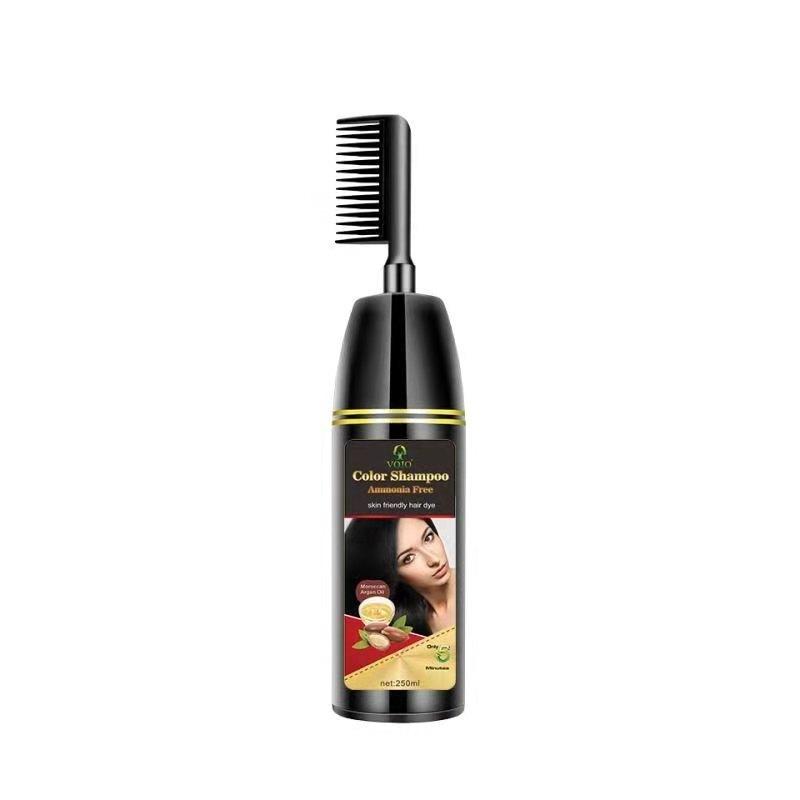 VOJOfactory hot sale no ammonia hair shampoo black henna hair dye comb 5 mimutes