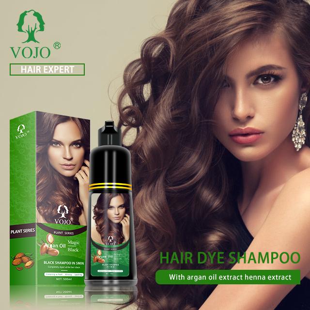VOJOargan oil magic black 5 minutes fast black hair color shampoo hair dye 100% cover natural herbal serum shampoo