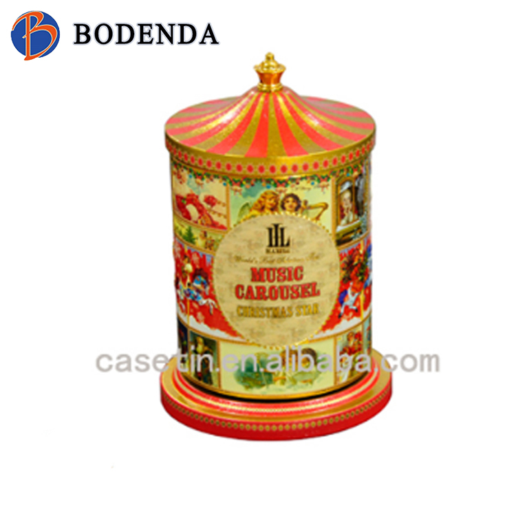 New released design of carousel music cookie tin