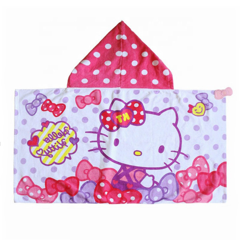 Wholesale high quality 100% cotton printed children's baby hoodie towel